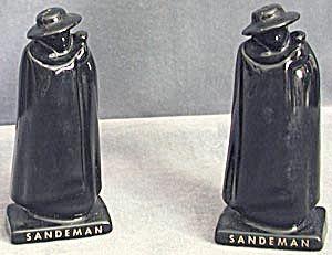 Sandeman Cream Sherry Black Caped Men Salt & Pepper. Click the image for more information.