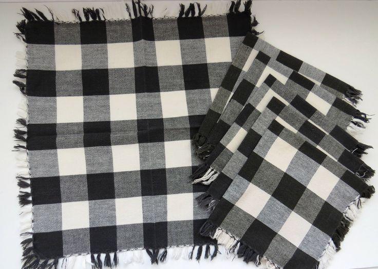 1960s Napkins - Set of 6 Black and White Check Cotton Fringe Napkins -  Vintage Table Linens - Collectible - Picnic BBQ RV by shabbyshopgirls on Etsy