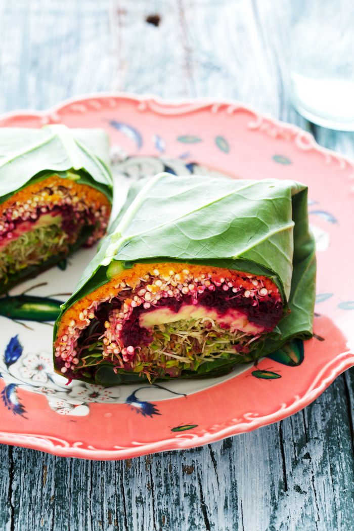 Quinoa collard wrap: w/ green leaves, tahini, carrot, ginger, shallot, avocado, beet, miso/chickpea paste, honey, rice vinegar, sesame oil