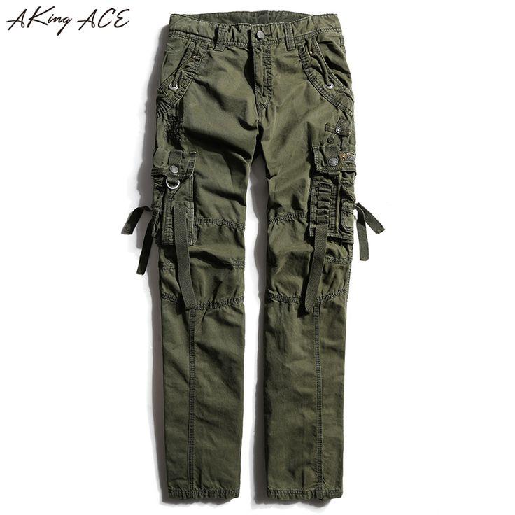 2017 NEW Men's Army Cargo pants for tough guy Khaki Multi-pocket pants man 100% cotton trousers factory-direct-clothing, ZA214