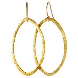 Marquise-inspired earrings in gold with vermeil texturing.