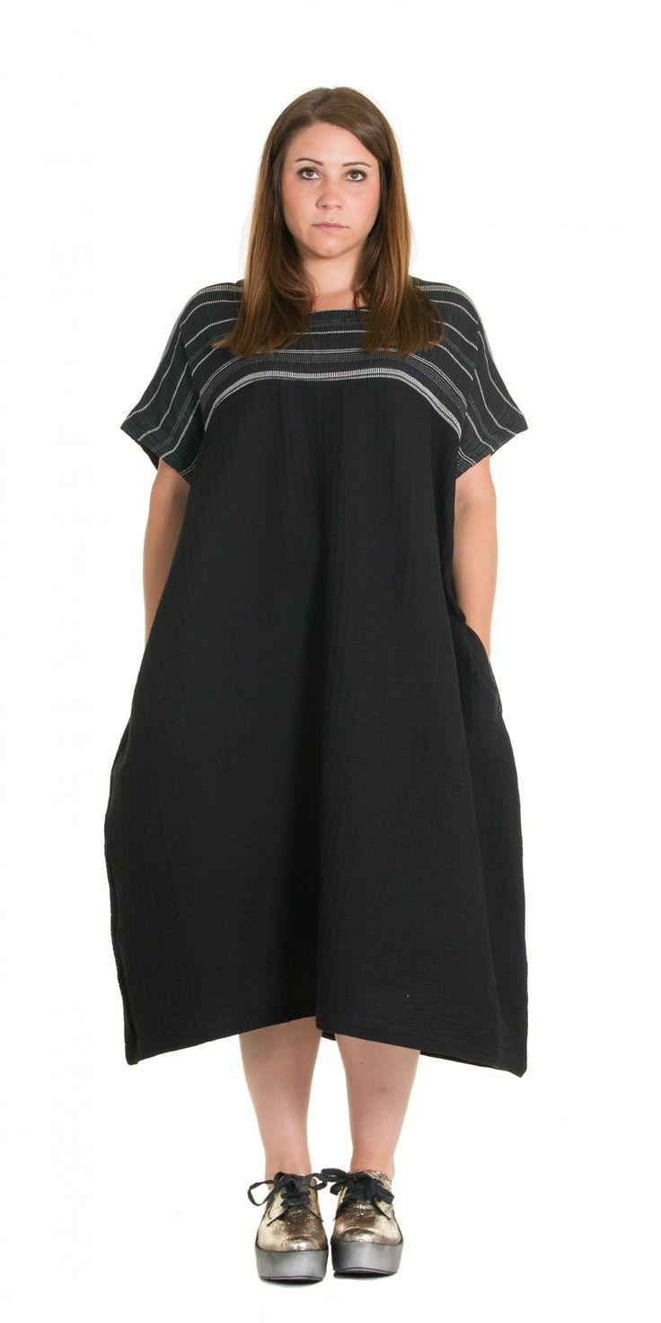 Moyuru Black Woven Cotton Dress