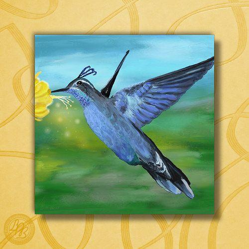 """Kolibřík {Krásy přírody} - Reprodukce"" (""Hummingbird {Nature's Beauties} - Reproduction""); 25 x 25cm (9.84"" x 9.84""); mounted on a board | approx. $14.85"