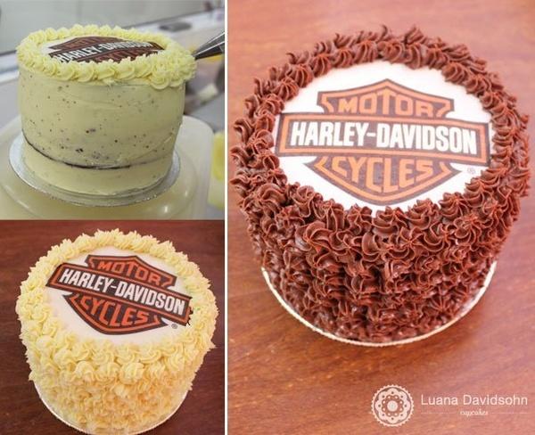 Bolo de 1 kg com a logomarca da Harley Davidson  em Luana Davidsohn Cupcakes food