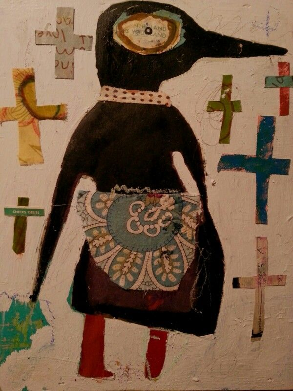 a few of my fave things...bird, apron, crosses.....Misty Lindsey.  Outsider art