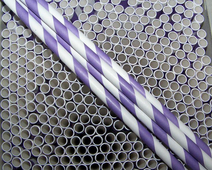 Paper Straws 25 Pretty Purple & White Stripe Straws Nice And Durable School Locker Supply by shabbygirl2 on Etsy