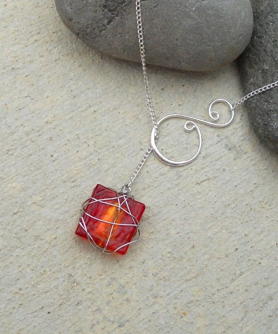 Silver Wire Wrapped Stone and Swirl Lariat by melissawuest on Etsy, $19.00
