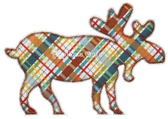 690 Zig Zag Moose Machine Embroidery by AppliqueCafeDesigns