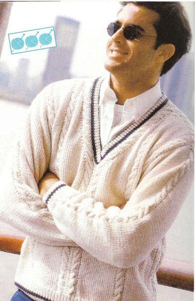 """Мужской пуловер с  v-образным вырезом """"На мор.волне"""""""