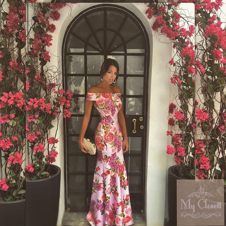 Vestido de festa, vestido floral, vestido estampado, vestido madrinha, vestido sereia, aluguel de vestidos, my closett