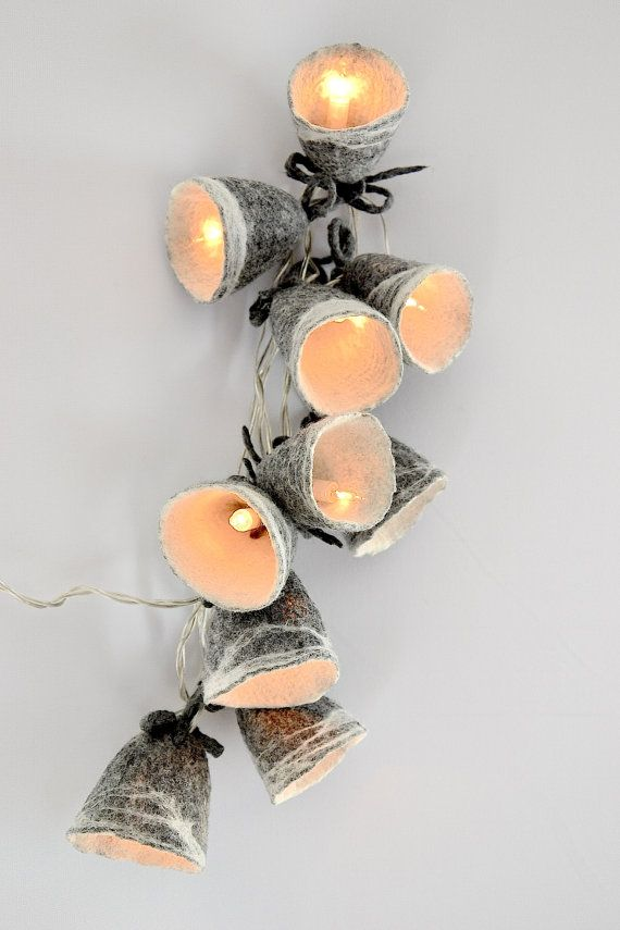 Gray White String Lights LED battery powered Garland by UrsulaShop