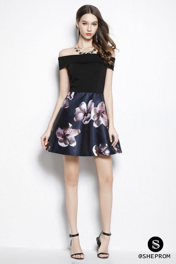 5d42648ca4d Only $68, Black Floral Print Off The Shoulder Short Dress #CK2053 at  #SheProm