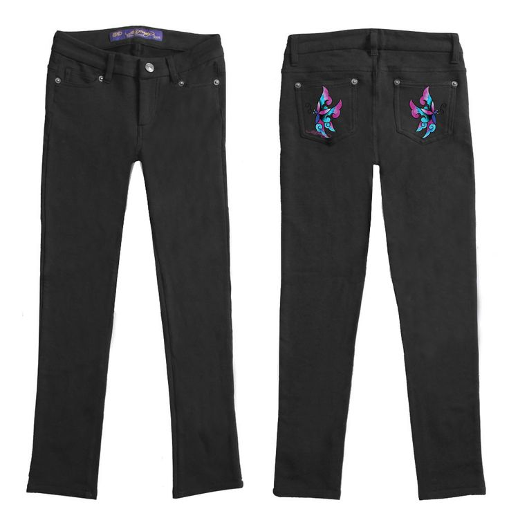 Ed Hardy Girls Embroidered Pocket Leggings – Black