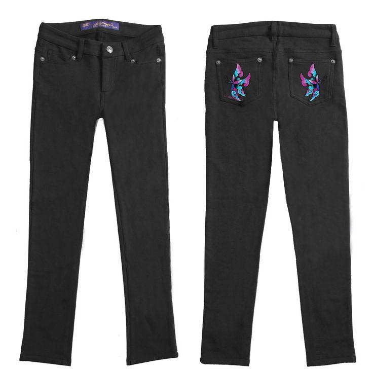 Ed Hardy Girls Embroidered Pocket Leggings – Black