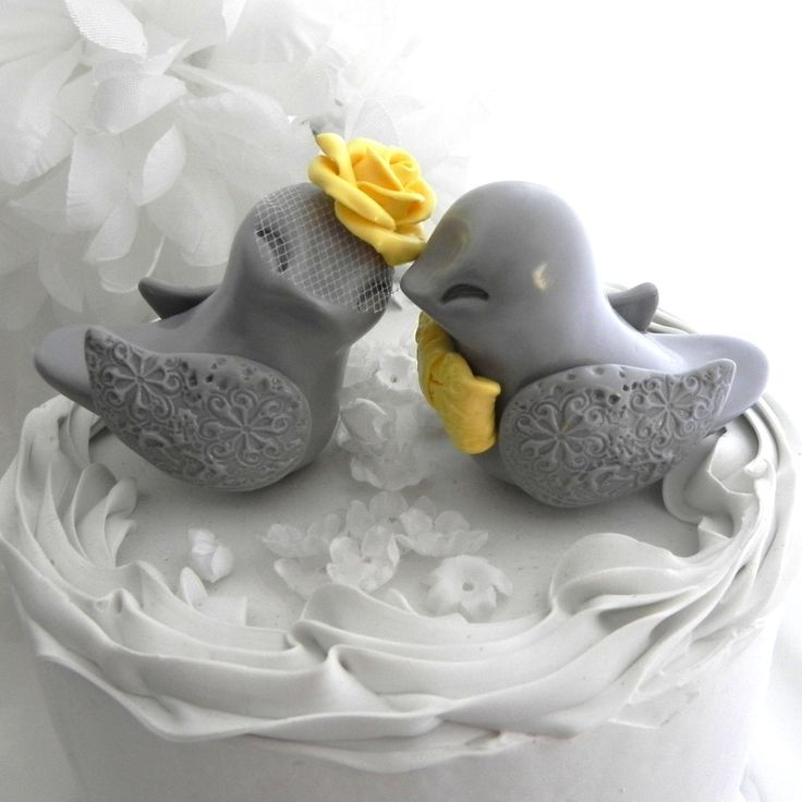 Love Birds Wedding Cake Topper, Grey and Buttercup Yellow, Bride and Groom Keepsake, Fully Customizable. $62.00, via Etsy.
