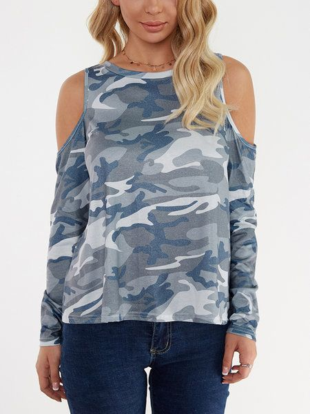0fdc7b3cdd8d90 Camouflage Round Neck Cold Shoulder Long Sleeves T-shirt