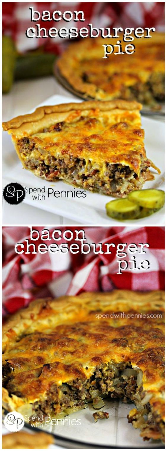 Bacon Cheeseburger Pie! This easy cheesy recipe is one that your whole family will love! Ground beef & bacon topped with cheese baked up perfectly in a pie crust!: