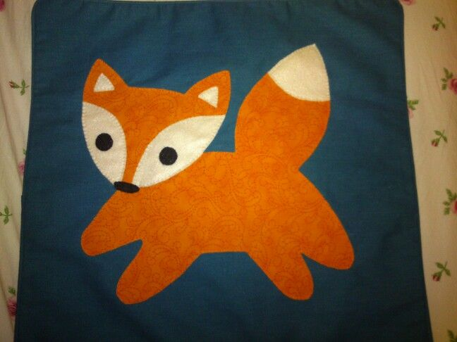 Appliqué fox cushion cover