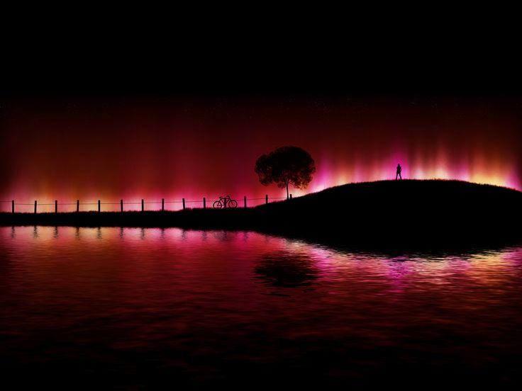 Red, Sky, Trav'Lin Lights, Fountain, Northern Lights, Aurora Borealis, Silhouettes, Bikes Riding, New Zealand