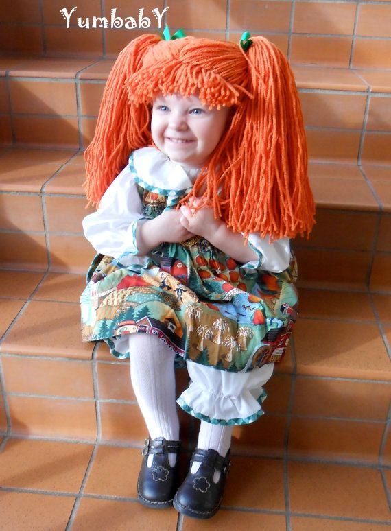 Cabbage Patch Halloween Costume!  Orange Doll Pigtail Wig (Yumbaby on Etsy)