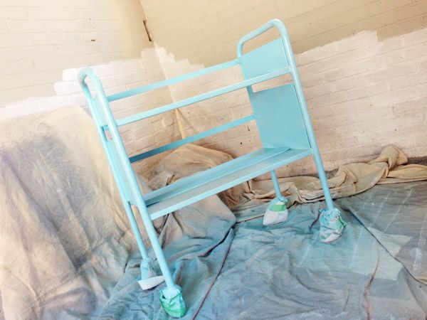 library cart diy, library cart makeover, painting metal furniture, office organization, office furniture craigslist