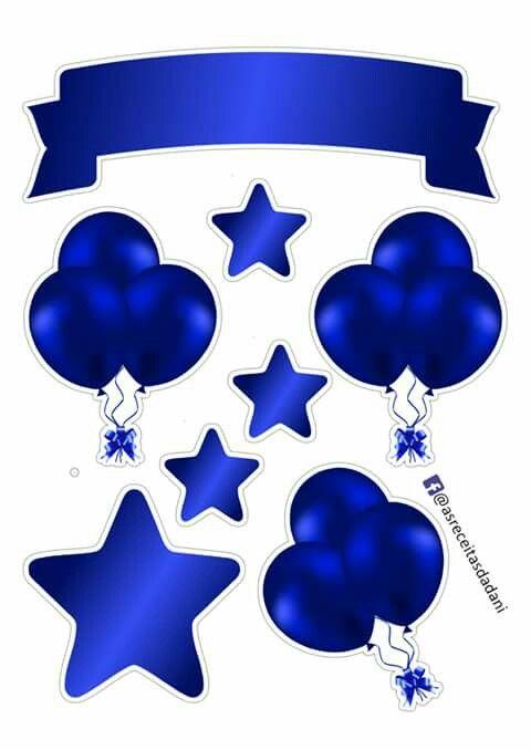 Cobalt Blue Event Stickers Bolo Com Plaquinhas Bolo De