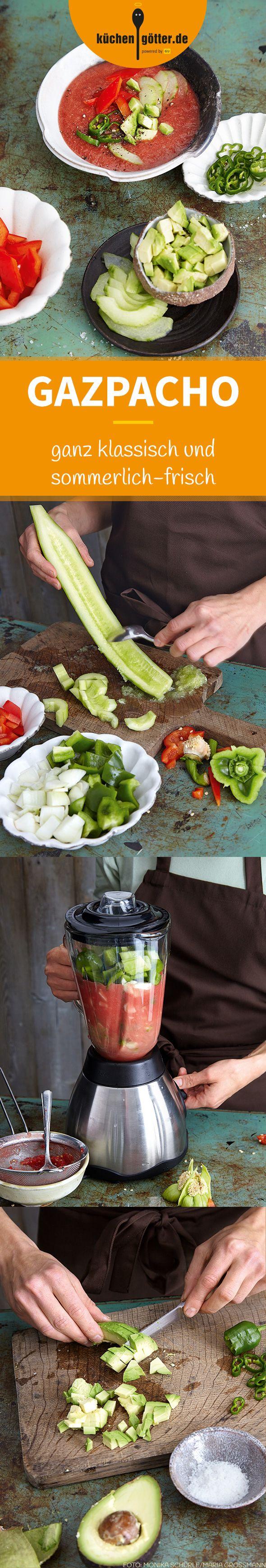 KLASSISCHE GAZPACHO - Ein Sommer ohne Gazpacho? Für uns undenkbar. Die kalt servierte Gemüsesuppe gehört einfach zur Sommerküche dazu. Ihr könnt sie auch mit Staudensellerie zubereiten und dafür die Avocado weglassen. Spart Kalorien und macht die Suppe noch einen Hauch erfrischender.
