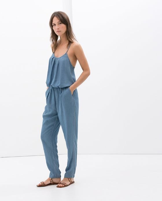 NWT Zara Jumpsuit With Spaghetti Straps Size Extra Small XS Light Blue 7620/275 #ZARA #Jumpsuit