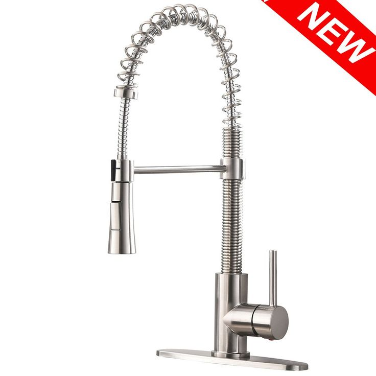 VAPSINT Best Modern Commercial Pull Down Sprayer Stainless Steel Brushed Nickel Kitchen Faucet,Single Handle Pull Out Kitchen Sink Faucet