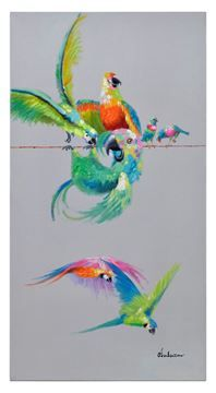 $54, Papagaio II Wall Art OL1267,43'' x 43'' x 3'',  Parrots of paradise are portrayed in all rainbow colors and sit on a contrasting pale grey background. textured surface, 100% hand-painted on canvas.