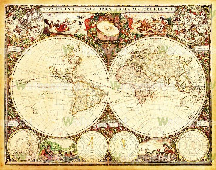 Antique World Map Wall Mural | Map Canvas Art