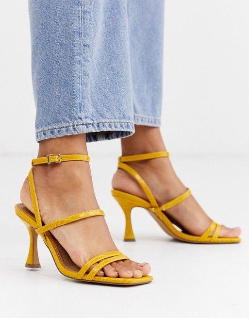 asos design hailee mid heeled sandals in mustard asos