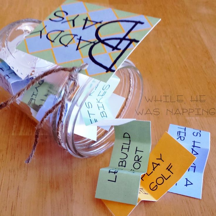 Daddy Date Jar. Super simple gift for dad that the kids can make themselves. FREE printable!
