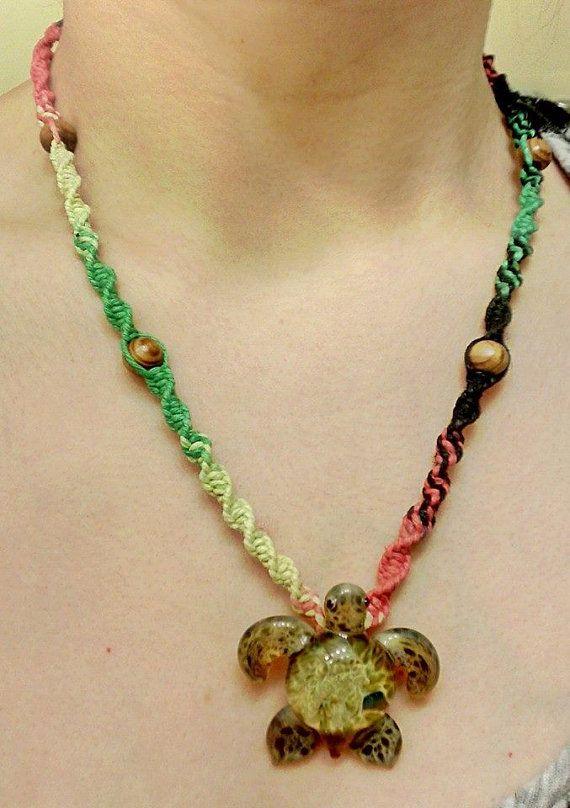 Handblow Turtle Spiral Rasta Hemp Necklace  by WartickRavels