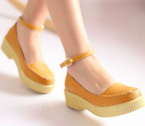 Womens Ladies Crossed Stitching Ankle Strap Low Heel Shoes Plus Size 008 | eBay