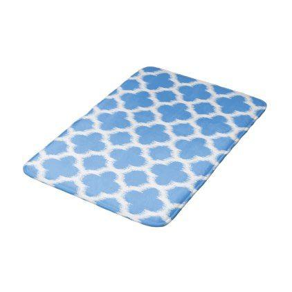 Cornflower Blue White Ikat Quatrefoil Pattern Bath Mat - chic design idea diy elegant beautiful stylish modern exclusive trendy