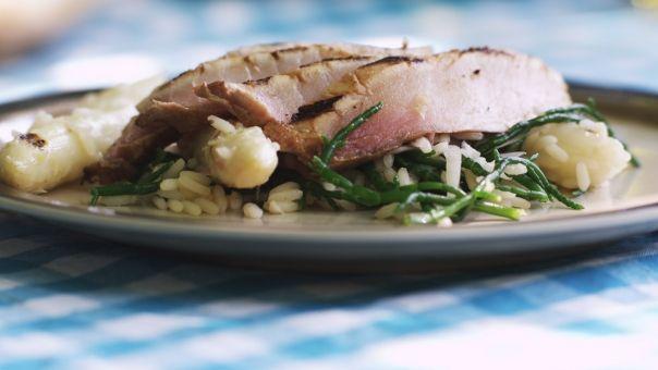 Eén - Dagelijkse kost - gegrilde zwaardvis met een asperge-rijstsalade