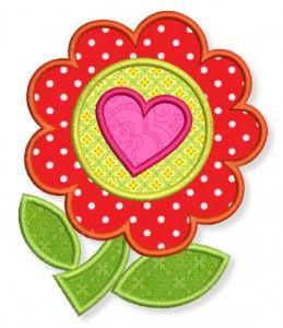 Applikation Blume mit Herz