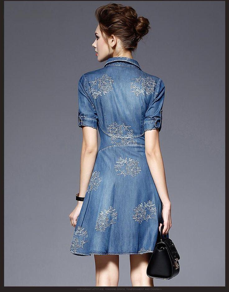 Doresuwe.com SUPPLIES 欧米セレブ愛用新品 2015早秋 薄い金の復古 大スカート 刺繍 修身カウボーイ ワンピース デートワンピース (5)