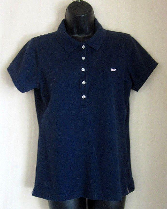 1e304207d56 Vineyard Vines Women s Polo Shirt Navy Blue Whale Logo Classic Size M  Medium  VineyardVines  ClassicFitPolo  Casual