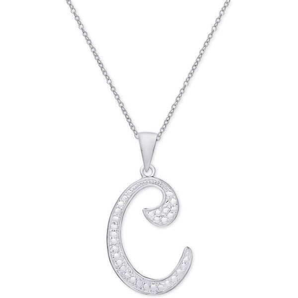 Diamond Accent Script Initial Pendant Necklace in Sterling Silver ($50) ❤ liked on Polyvore featuring jewelry, necklaces, c, monogram letter necklace, pendant necklaces, sterling silver letter necklace, sterling silver necklace and sparkly necklace
