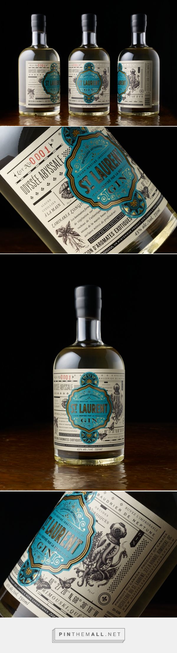 St. Laurent Gin Packaging designed by Chad Michael Studio​ - http://www.packagingoftheworld.com/2015/10/st-laurent-gin.html