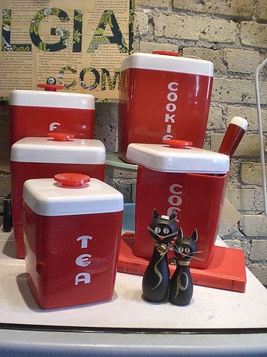 Luster-Ware Cherry Red Kitchen Canisters  by Lune Vintage, via Flickr