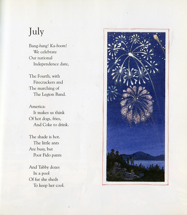 """July"" from A Child's Calendar poems by John Updike and illustrations by Trina Schart Hyman  http://readmeastorynow.blogspot.com/2012/07/happy-4th-of-july.html"