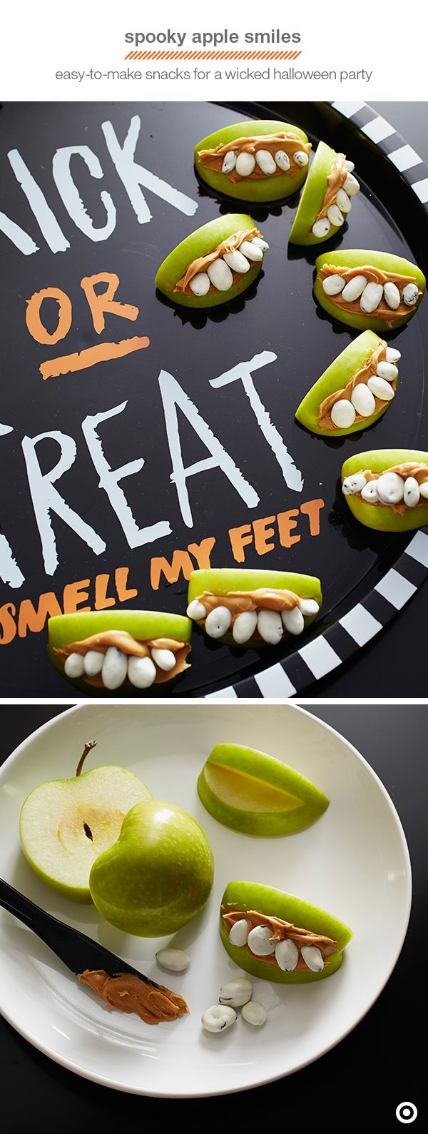 Here's a Halloween treat you can really sink your teeth into. Some green apple slices, creamy peanut butter, and yogurt-covered raisins are all it takes to make a snack sure to be a hit with kids. Simply cut a notch in the center of each apple slice and brush them with lemon juice to prevent browning. Fill the notches (or mouths) with peanut butter and top with a row of raisins. Best part? It'll keep kids from filling up on candy.