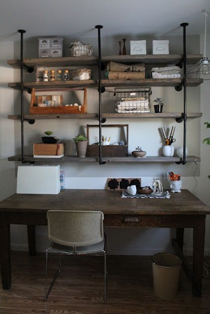 DIY Industrial Iron & Wood Shelves ~ Great Tutorial via SylvieLiv: Before & After: Guest room- book shelves- storage guest closet