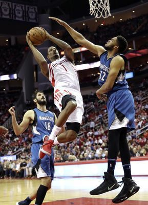 AP                  8:58 p.m. ET April 14, 2017                 Houston Rockets' Trevor Ariza (1) shoots as Minnesota Timberwolves' Karl-Anthony Towns (32) defends during the second half of an NBA basketball game, Wednesday, April 12, 2017, in Houston. The Rockets won...  http://usa.swengen.com/timberwolves-owner-taylor-expecting-big-jump-next-season/