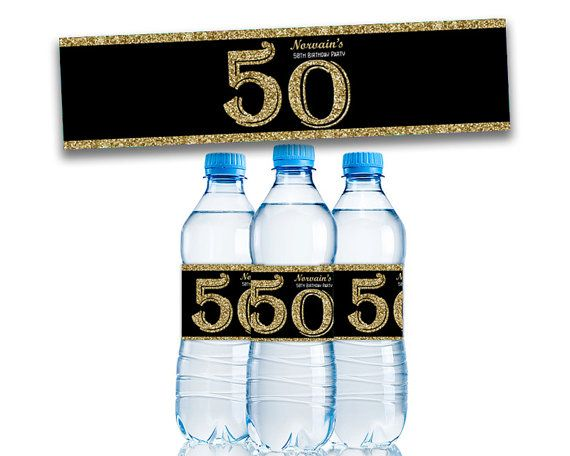 Adult Birthday Party Favors - Adult Party Decorations - Gold Glitter Favor - Personalized Water Bottle Labels - Milestone 50th 60th 70th 80