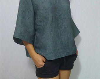 Womens linen tshirts green linen top Round Neck loose T-shirt short sleeves Linen Shirt,oversized Blouse for heat,casual Linen women clothes