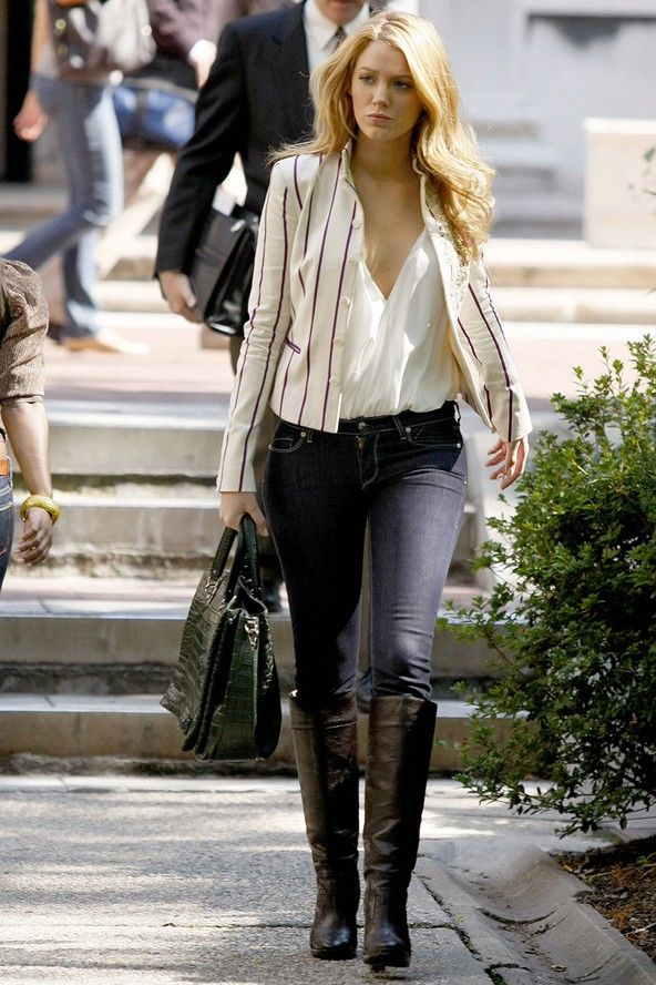 Blake Lively. White Shirt, Stripe Blazer, Jeans And Brown Knee-High Boots.